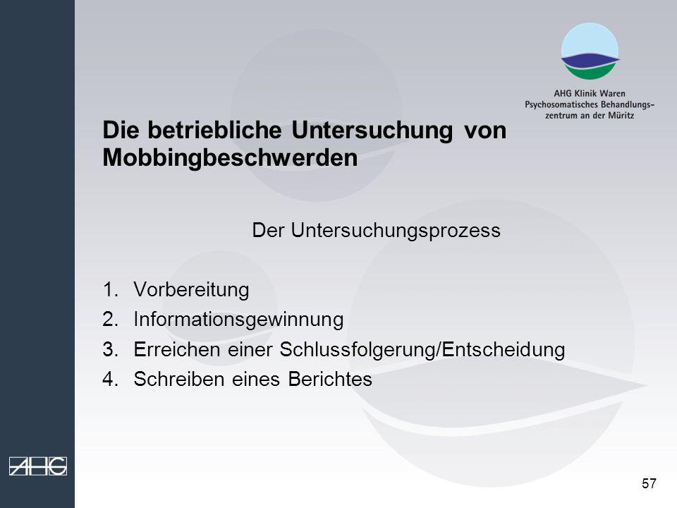 Die betriebliche Untersuchung von Mobbingbeschwerden
