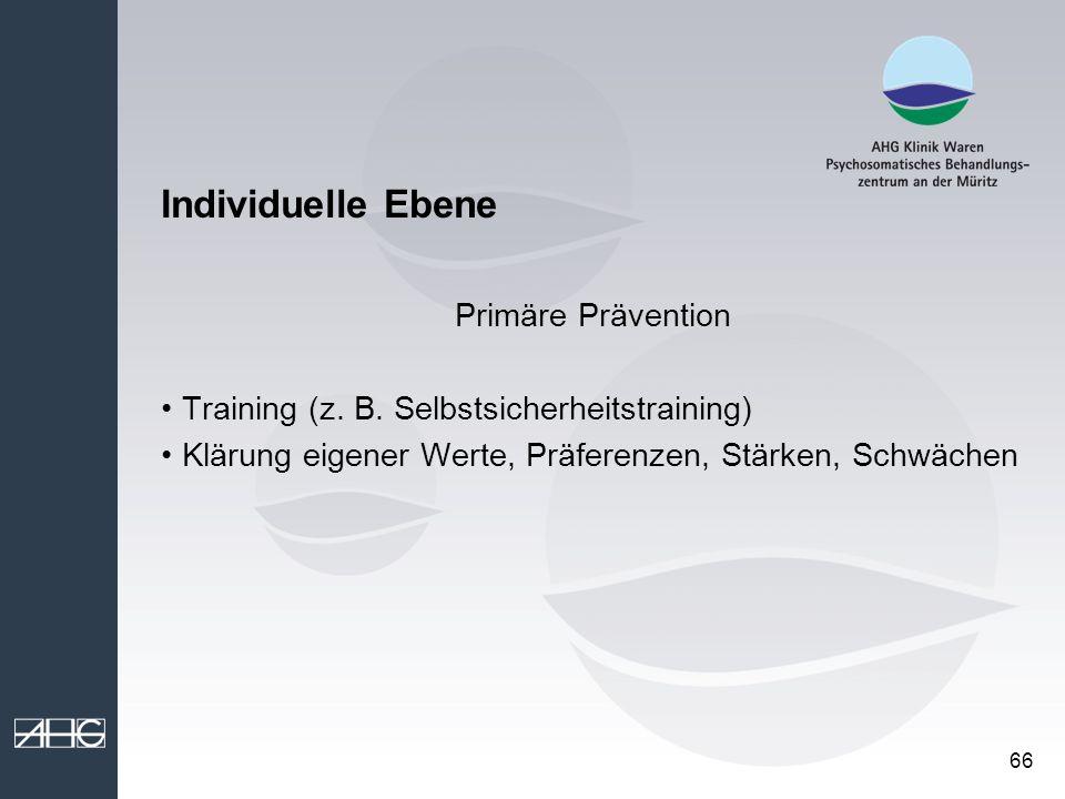 Individuelle Ebene Primäre Prävention