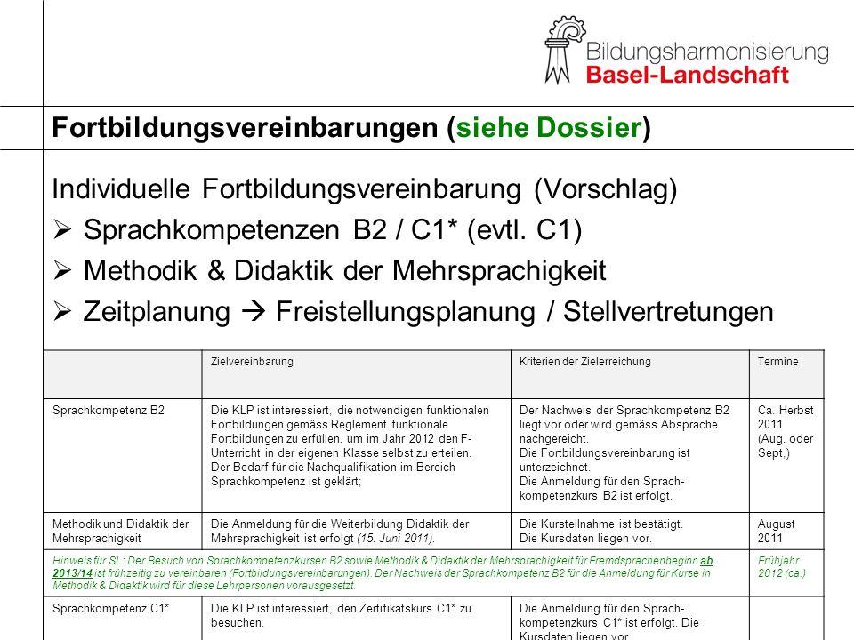 Fortbildungsvereinbarungen (siehe Dossier)