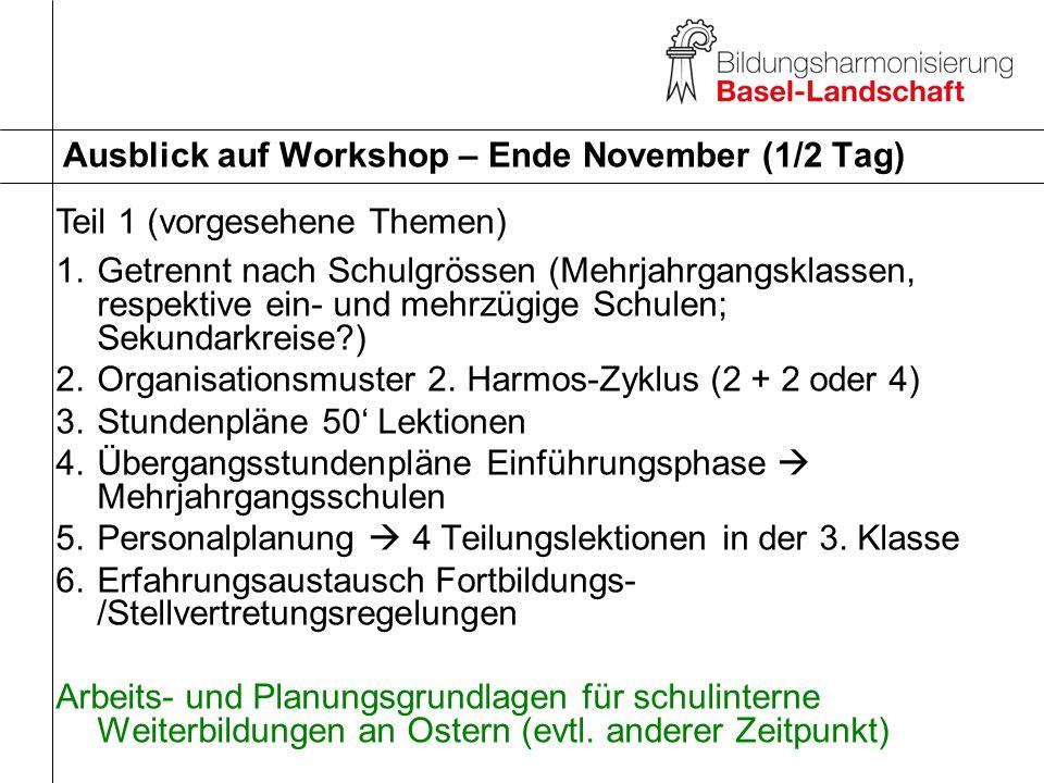 Ausblick auf Workshop – Ende November (1/2 Tag)