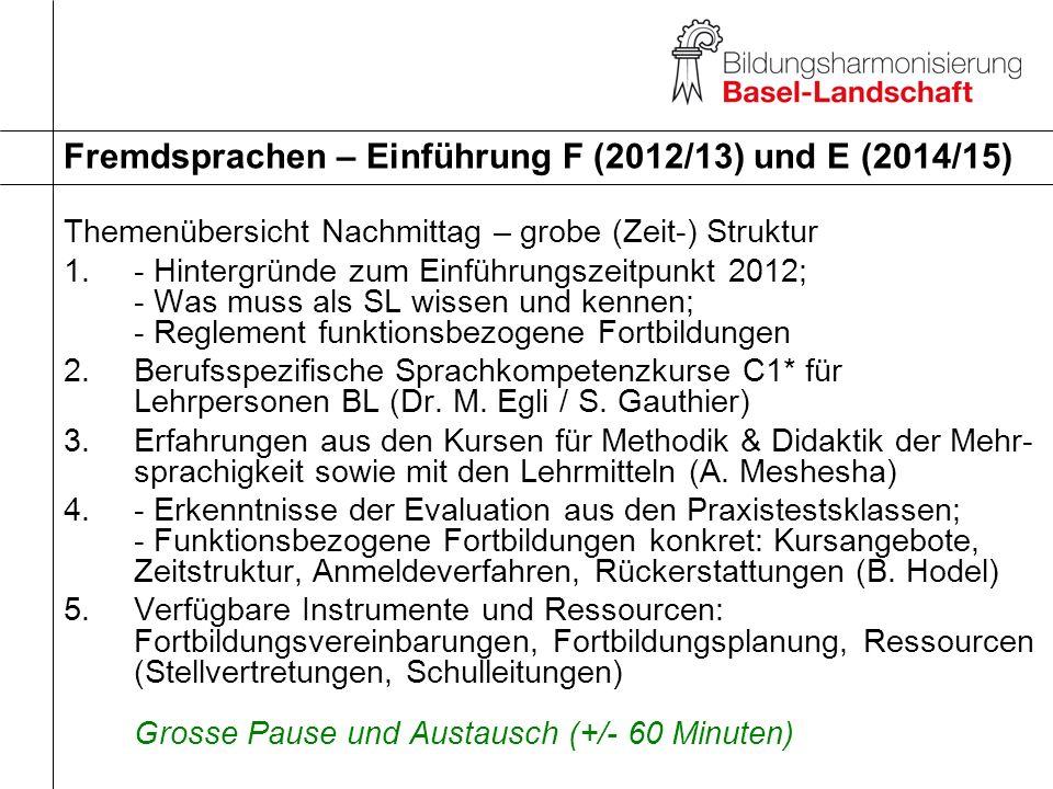 Fremdsprachen – Einführung F (2012/13) und E (2014/15)
