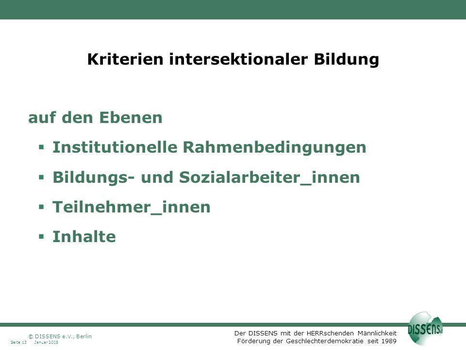Kriterien intersektionaler Bildung