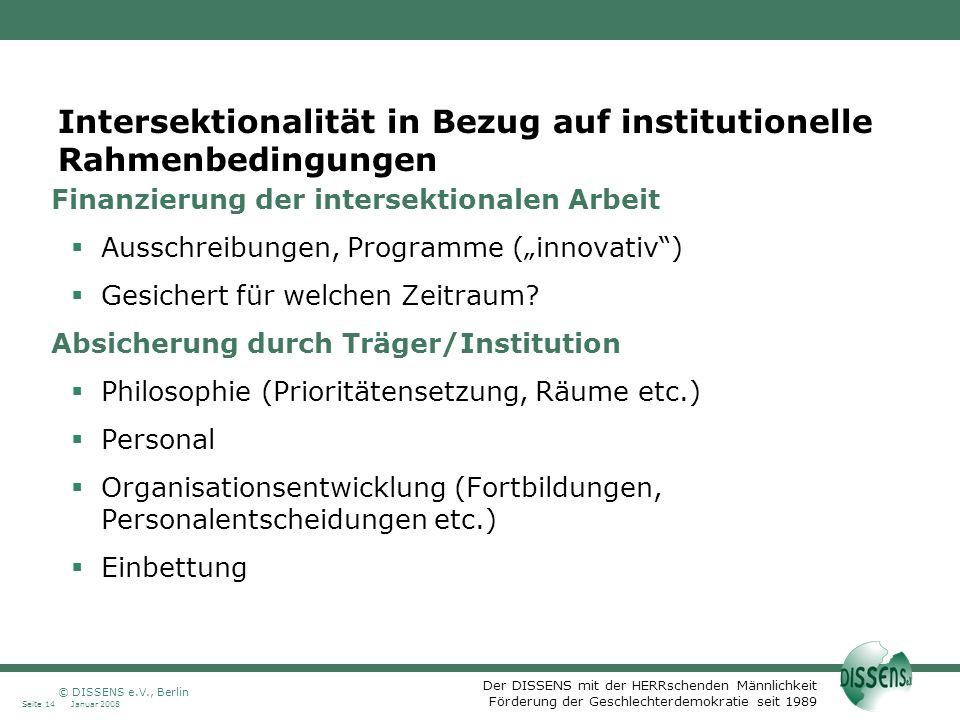 Intersektionalität in Bezug auf institutionelle Rahmenbedingungen