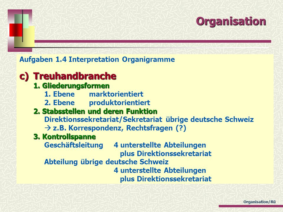 Organisation Aufgaben 1.4 Interpretation Organigramme.