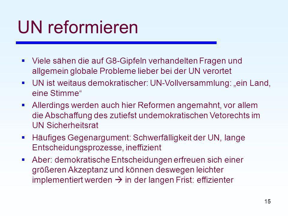 UN reformieren Viele sähen die auf G8-Gipfeln verhandelten Fragen und allgemein globale Probleme lieber bei der UN verortet.
