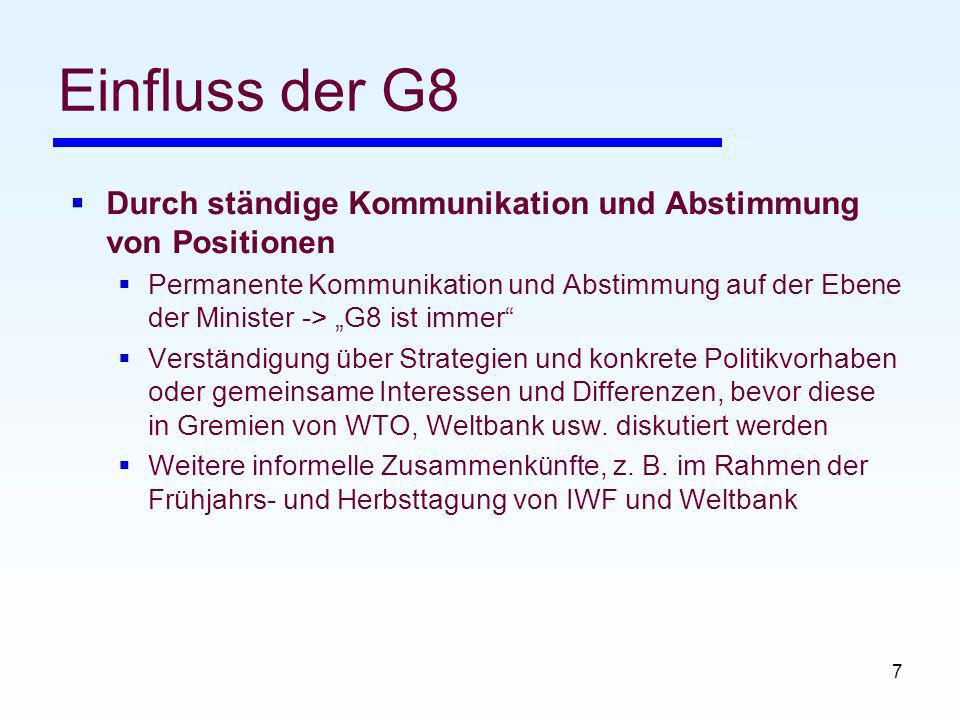 Einfluss der G8 Durch ständige Kommunikation und Abstimmung von Positionen.