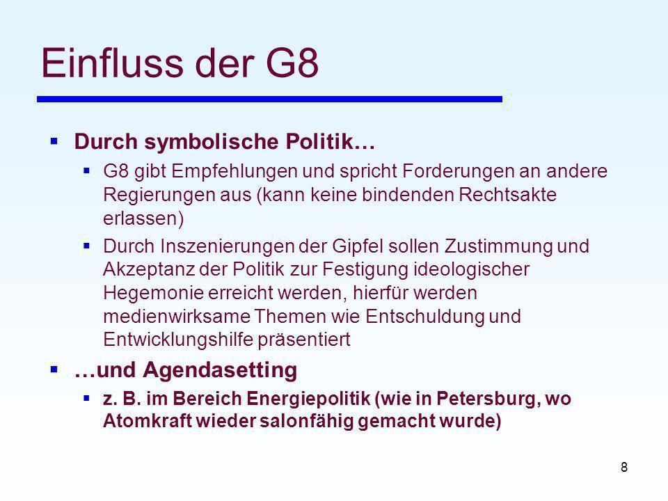 Einfluss der G8 Durch symbolische Politik… …und Agendasetting