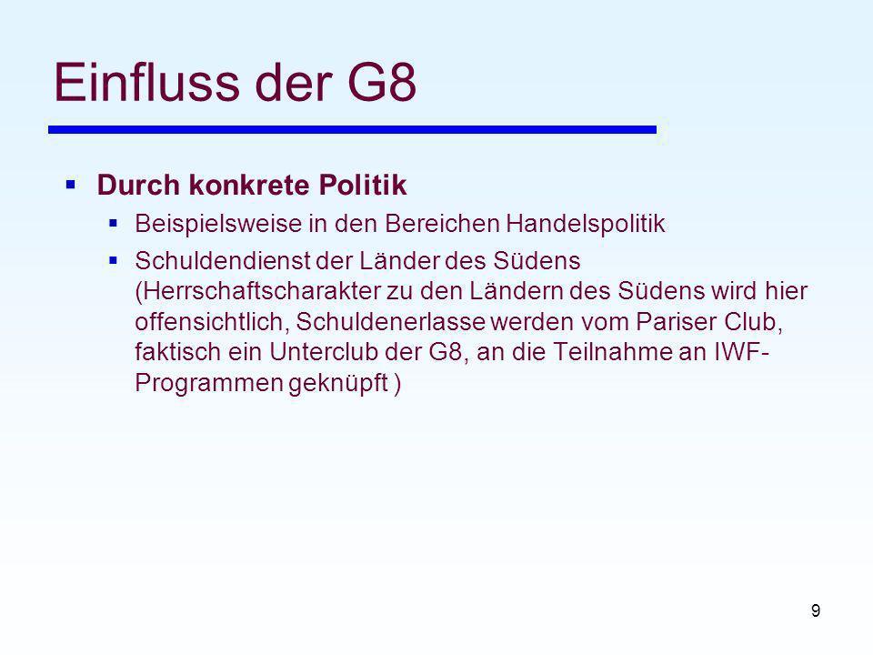 Einfluss der G8 Durch konkrete Politik
