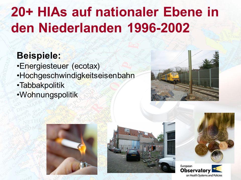 20+ HIAs auf nationaler Ebene in den Niederlanden 1996-2002