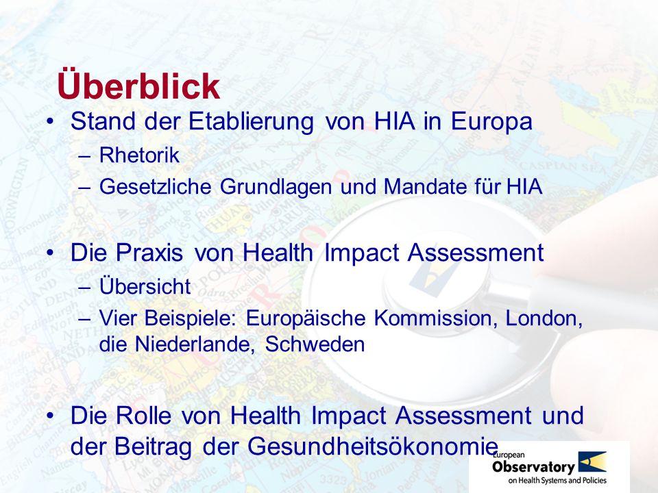 Überblick Stand der Etablierung von HIA in Europa