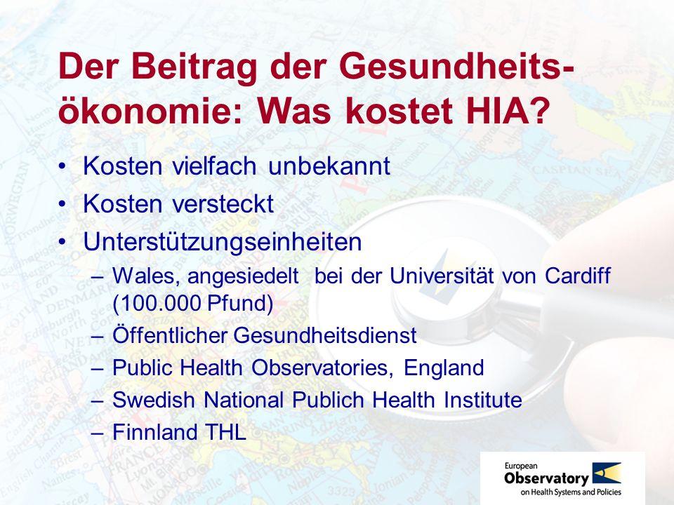 Der Beitrag der Gesundheits-ökonomie: Was kostet HIA