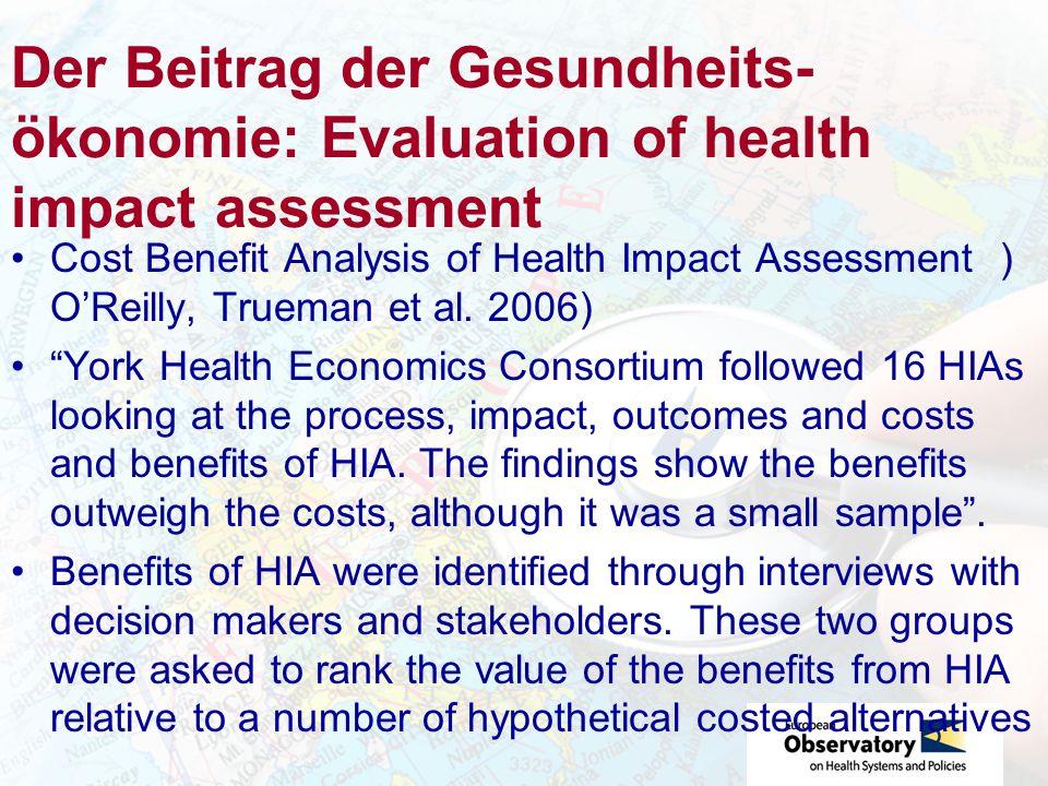 Der Beitrag der Gesundheits-ökonomie: Evaluation of health impact assessment