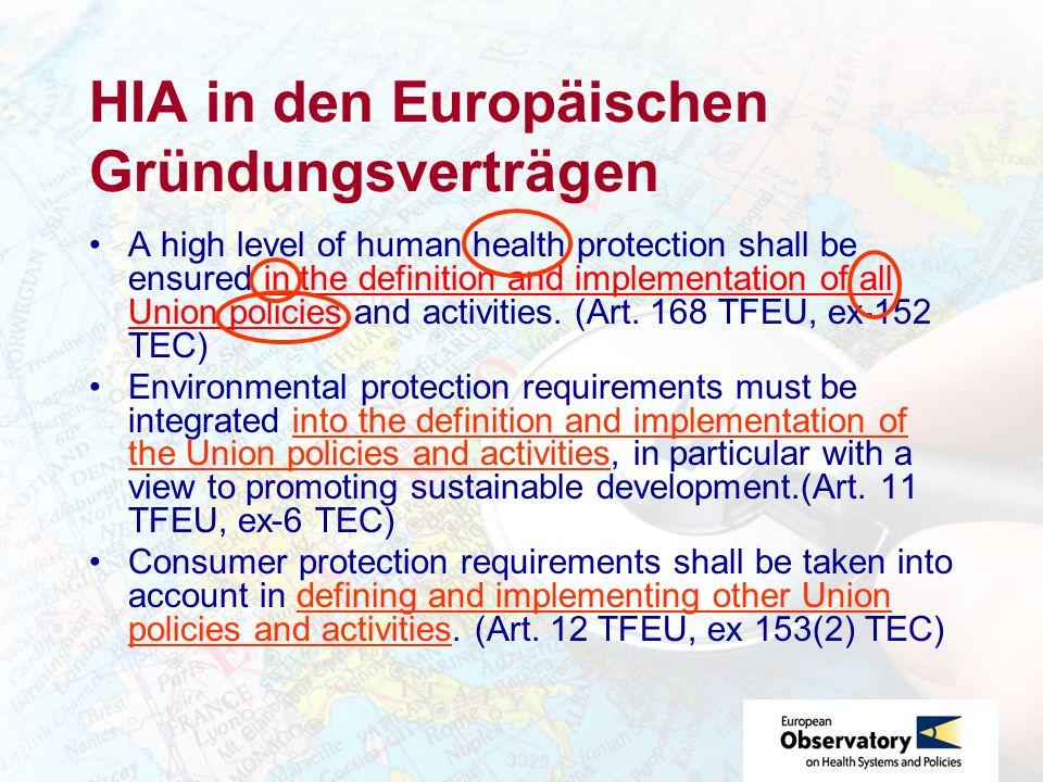HIA in den Europäischen Gründungsverträgen