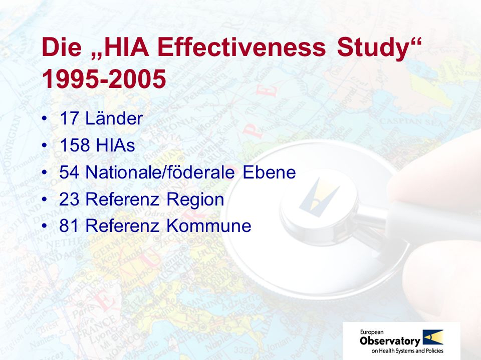 "Die ""HIA Effectiveness Study 1995-2005"