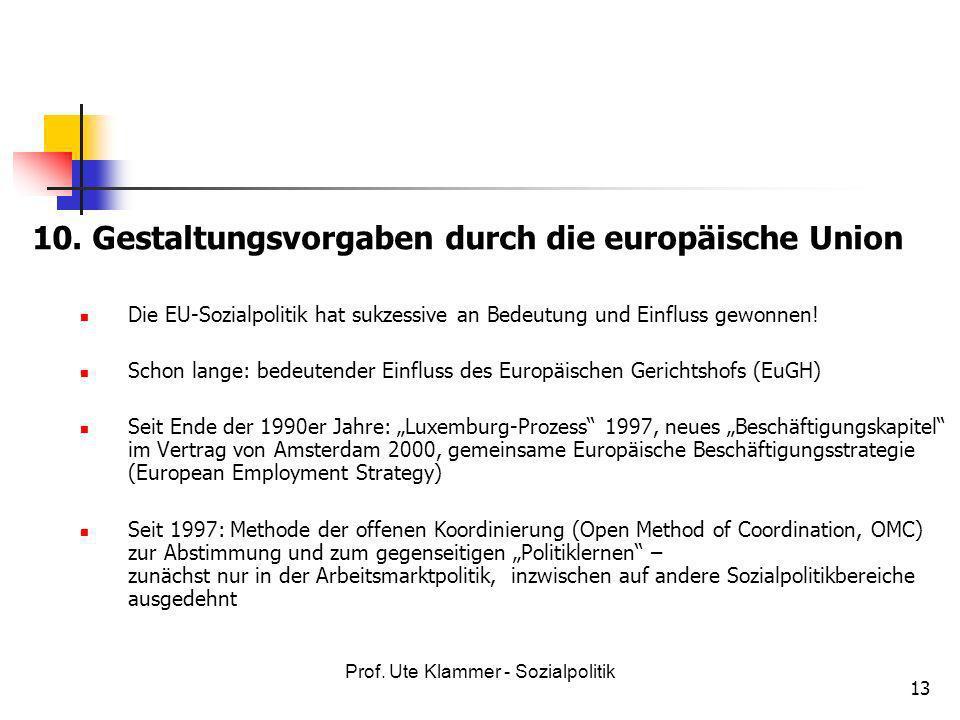 10. Gestaltungsvorgaben durch die europäische Union