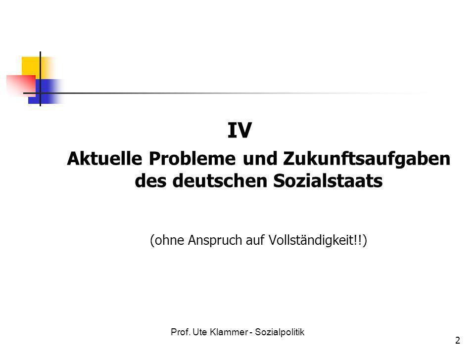 Aktuelle Probleme und Zukunftsaufgaben des deutschen Sozialstaats