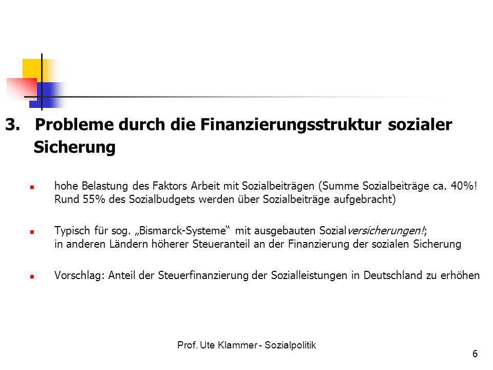 3. Probleme durch die Finanzierungsstruktur sozialer Sicherung