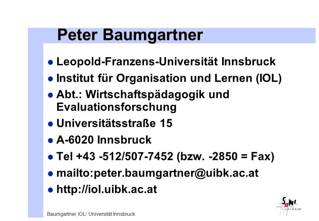 Peter Baumgartner Leopold-Franzens-Universität Innsbruck