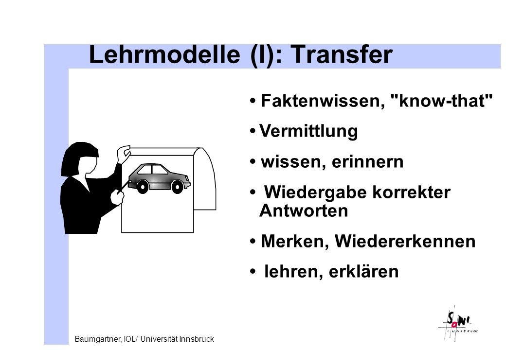 Lehrmodelle (I): Transfer