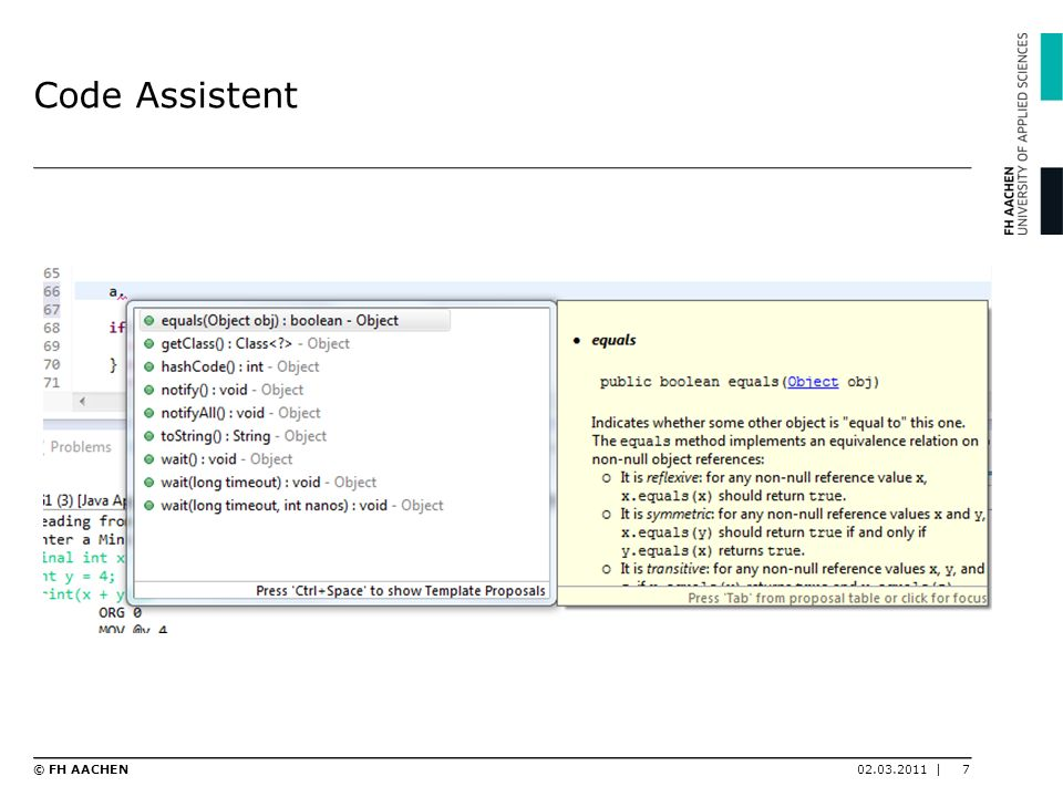 Code Assistent © FH AACHEN 02.03.2011 |