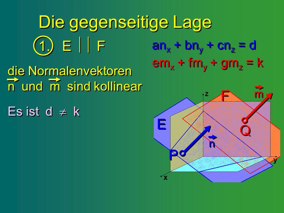 Die gegenseitige Lage 1. E  F F E Q P anx + bny + cnz = d