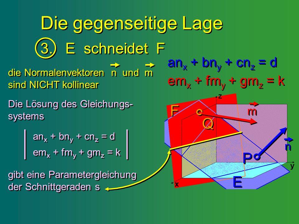 Die gegenseitige Lage 3. E schneidet F F Q P E anx + bny + cnz = d