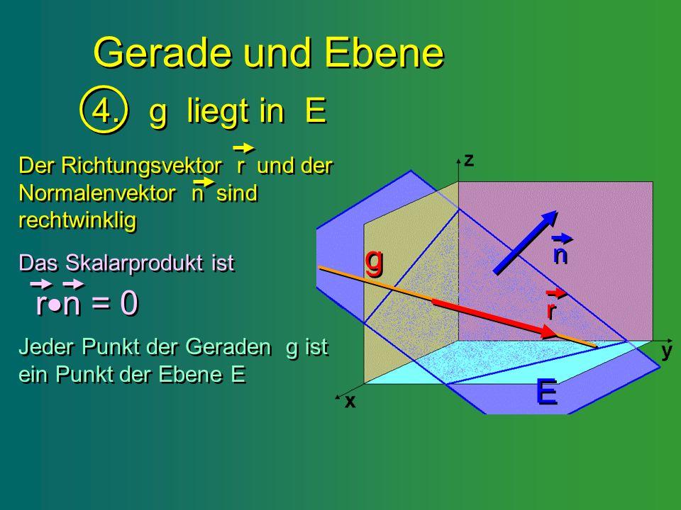 Gerade und Ebene 4. g liegt in E g rn = 0 E n r