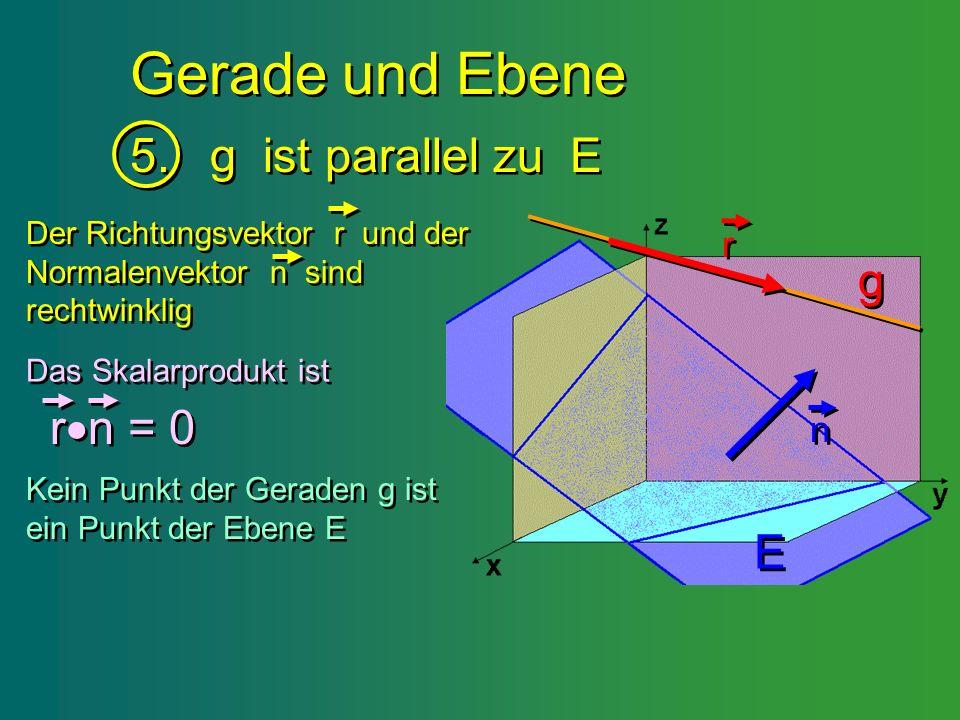 Gerade und Ebene 5. g ist parallel zu E g rn = 0 E r n