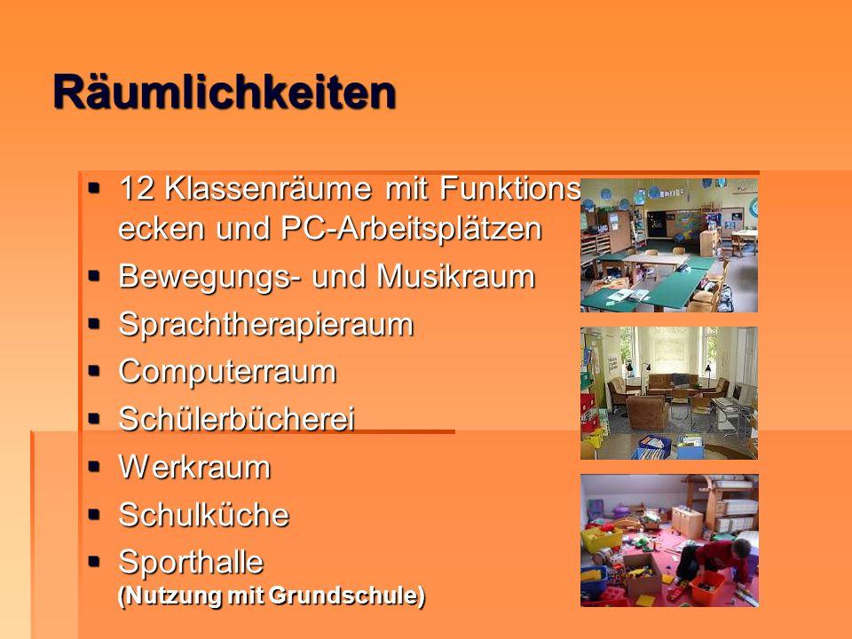 Räumlichkeiten 12 Klassenräume mit Funktions- ecken und PC-Arbeitsplätzen. Bewegungs- und Musikraum.