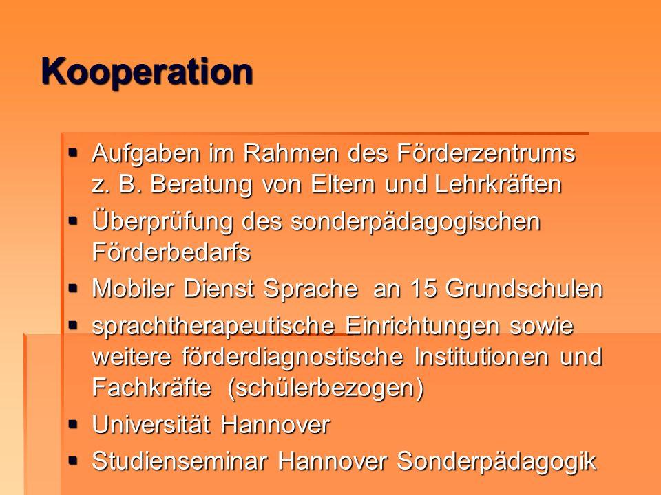 Kooperation Aufgaben im Rahmen des Förderzentrums z. B. Beratung von Eltern und Lehrkräften. Überprüfung des sonderpädagogischen Förderbedarfs.
