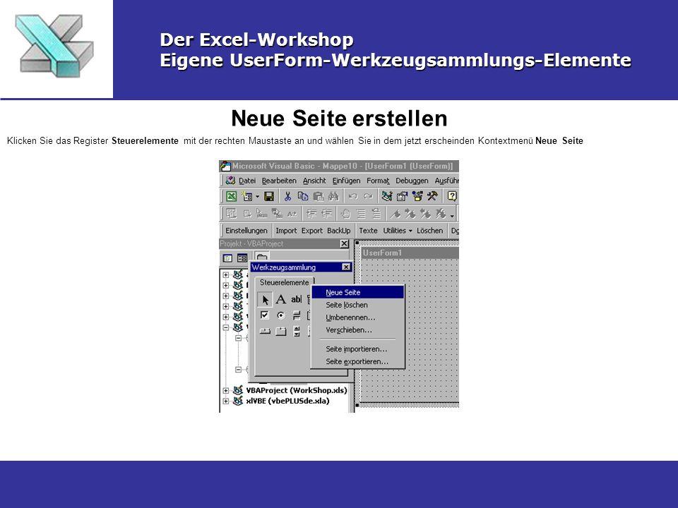 Neue Seite erstellen Der Excel-Workshop