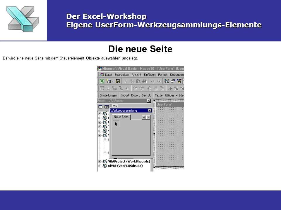 Die neue Seite Der Excel-Workshop