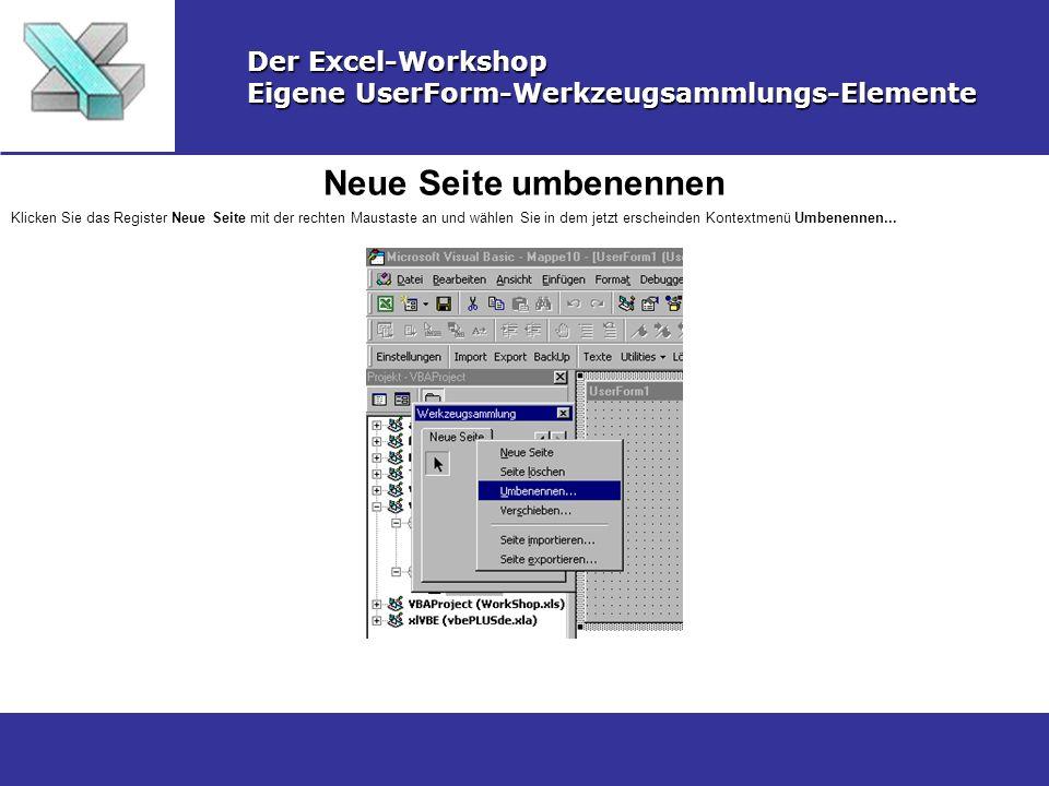 Neue Seite umbenennen Der Excel-Workshop