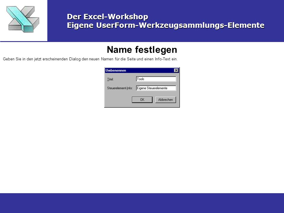 Name festlegen Der Excel-Workshop