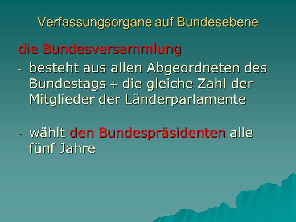 Verfassungsorgane auf Bundesebene