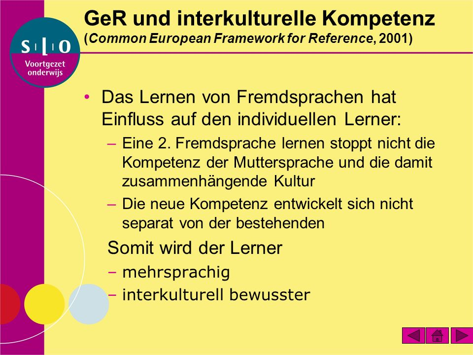 GeR und interkulturelle Kompetenz (Common European Framework for Reference, 2001)