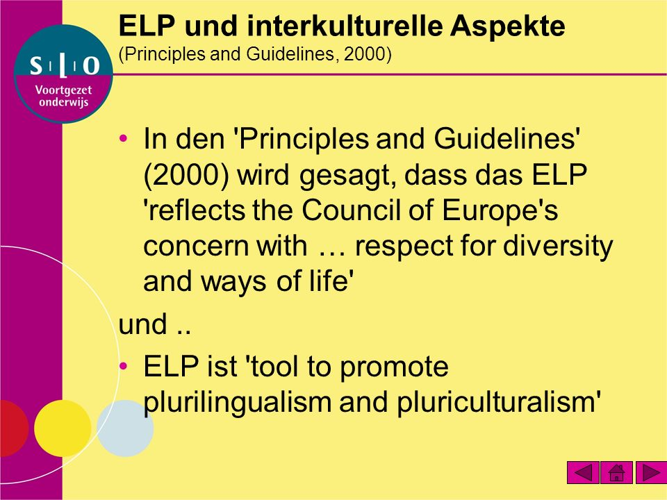 ELP und interkulturelle Aspekte (Principles and Guidelines, 2000)