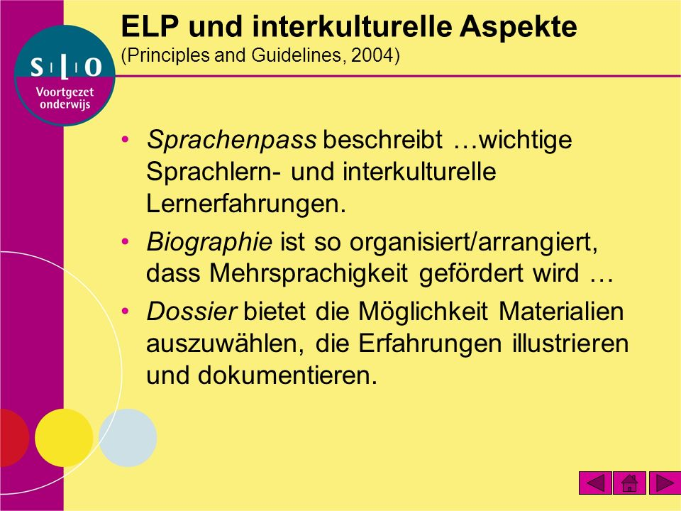ELP und interkulturelle Aspekte (Principles and Guidelines, 2004)