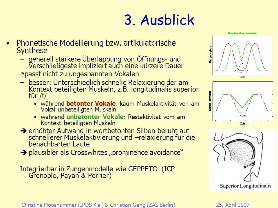 3. Ausblick Phonetische Modellierung bzw. artikulatorische Synthese