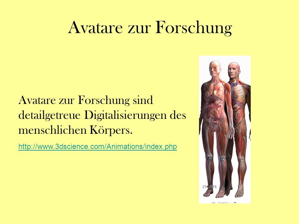 Avatare zur Forschung Avatare zur Forschung sind detailgetreue Digitalisierungen des menschlichen Körpers.