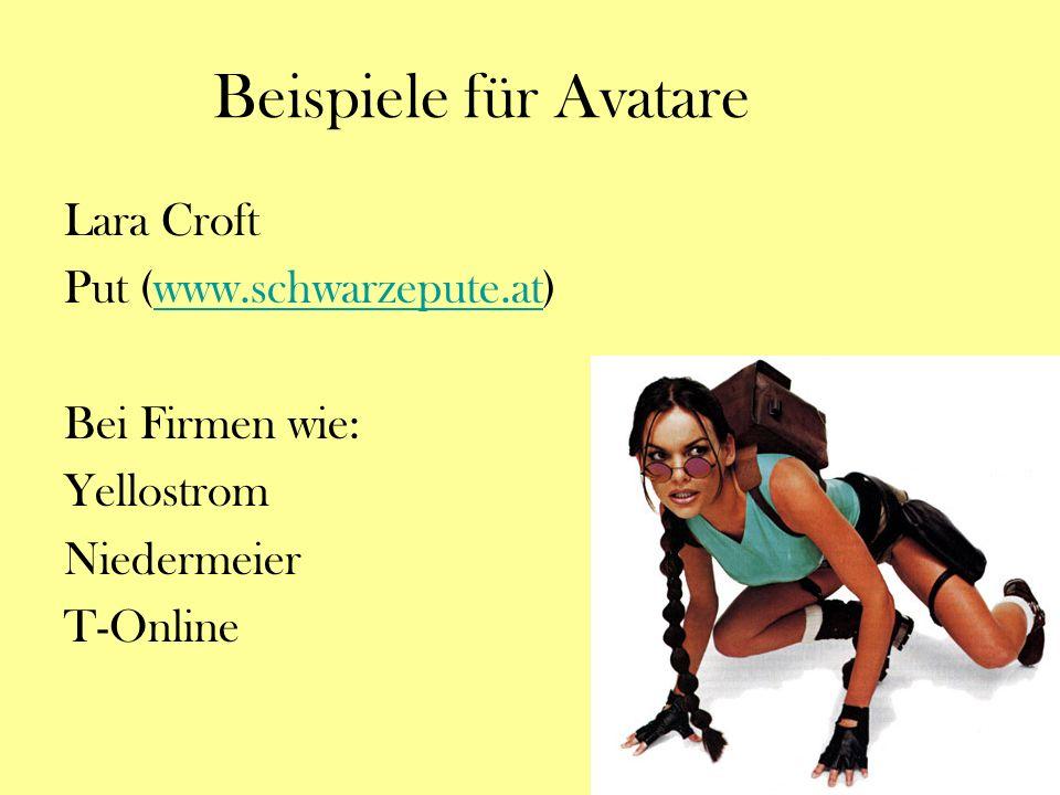 Beispiele für Avatare Lara Croft Put (www.schwarzepute.at)