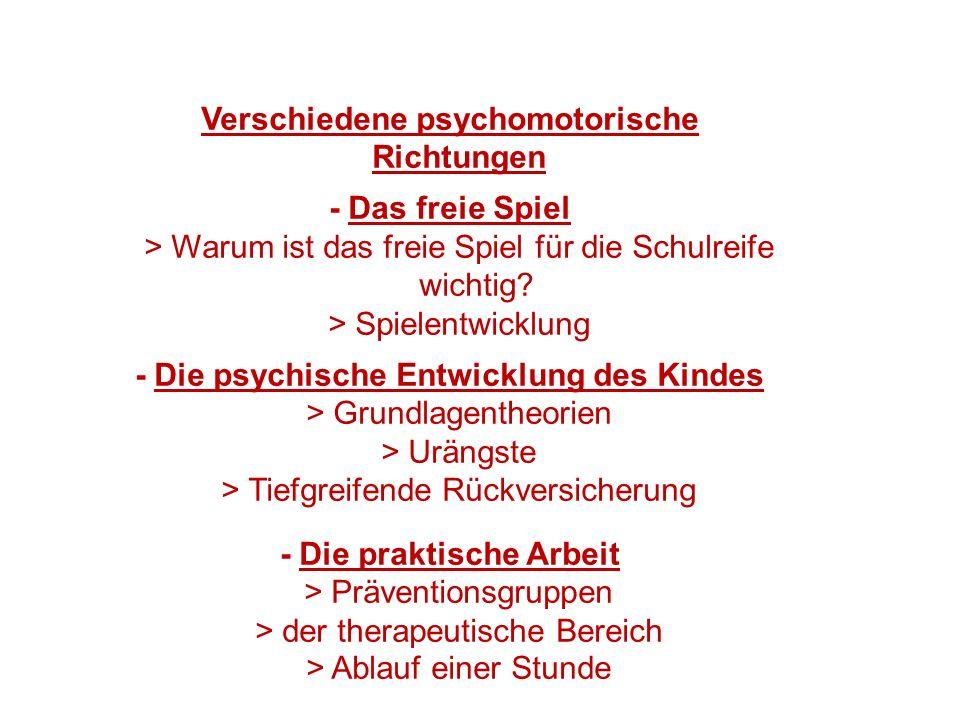 Verschiedene psychomotorische Richtungen - Das freie Spiel > Warum ist das freie Spiel für die Schulreife wichtig.