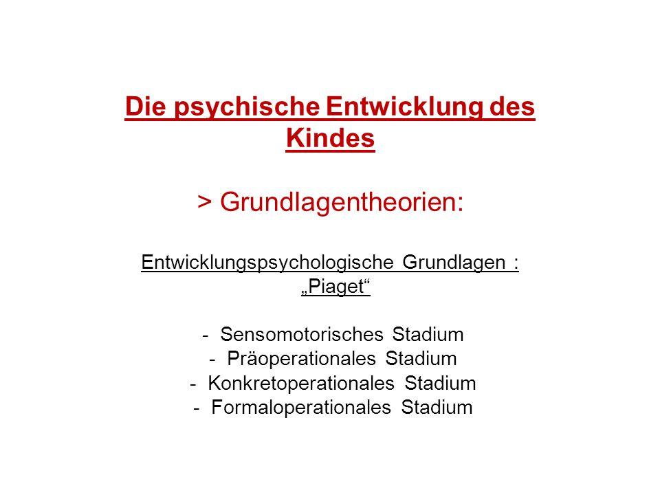 """Die psychische Entwicklung des Kindes > Grundlagentheorien: Entwicklungspsychologische Grundlagen : """"Piaget - Sensomotorisches Stadium - Präoperationales Stadium - Konkretoperationales Stadium - Formaloperationales Stadium"""