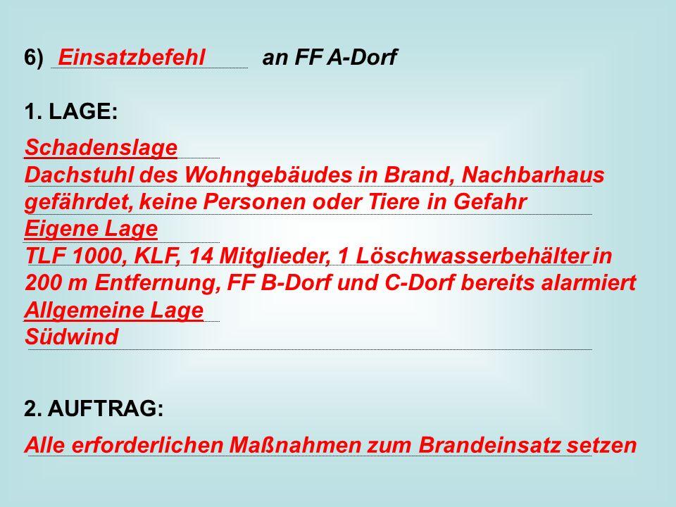6) an FF A-Dorf 1. LAGE: 2. AUFTRAG: Einsatzbefehl.