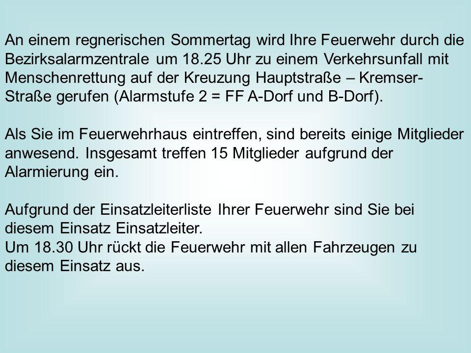 An einem regnerischen Sommertag wird Ihre Feuerwehr durch die Bezirksalarmzentrale um 18.25 Uhr zu einem Verkehrsunfall mit Menschenrettung auf der Kreuzung Hauptstraße – Kremser-Straße gerufen (Alarmstufe 2 = FF A-Dorf und B-Dorf).
