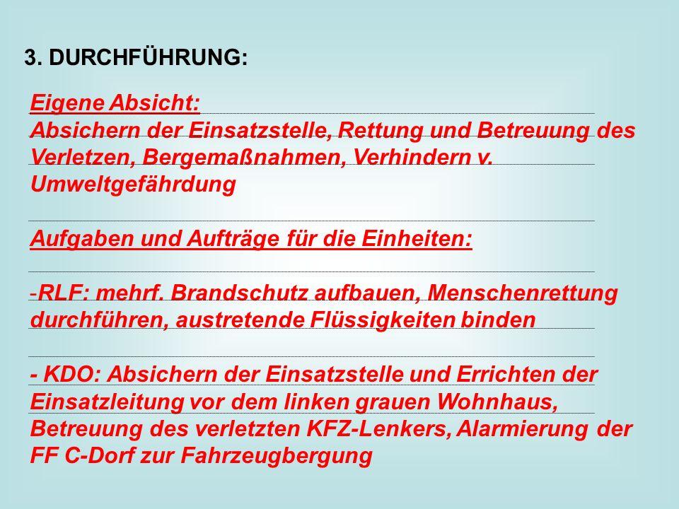 3. DURCHFÜHRUNG: Eigene Absicht: Absichern der Einsatzstelle, Rettung und Betreuung des Verletzen, Bergemaßnahmen, Verhindern v. Umweltgefährdung.