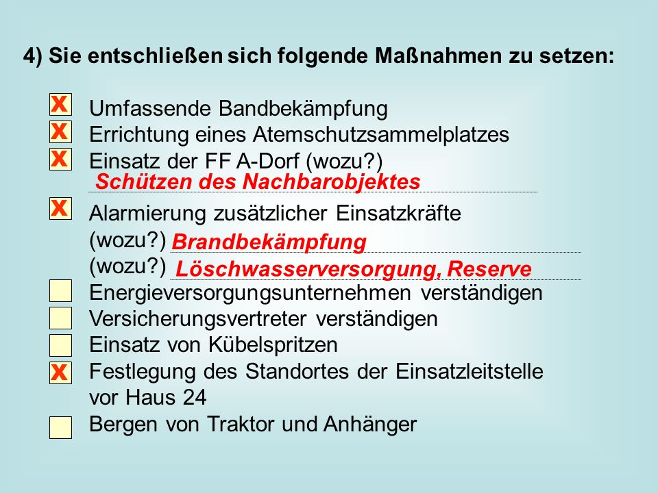 4) Sie entschließen sich folgende Maßnahmen zu setzen: