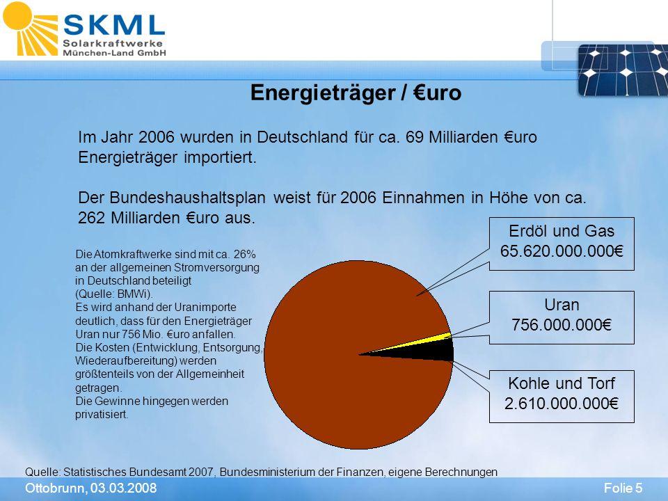 Energieträger / €uro Im Jahr 2006 wurden in Deutschland für ca. 69 Milliarden €uro Energieträger importiert.