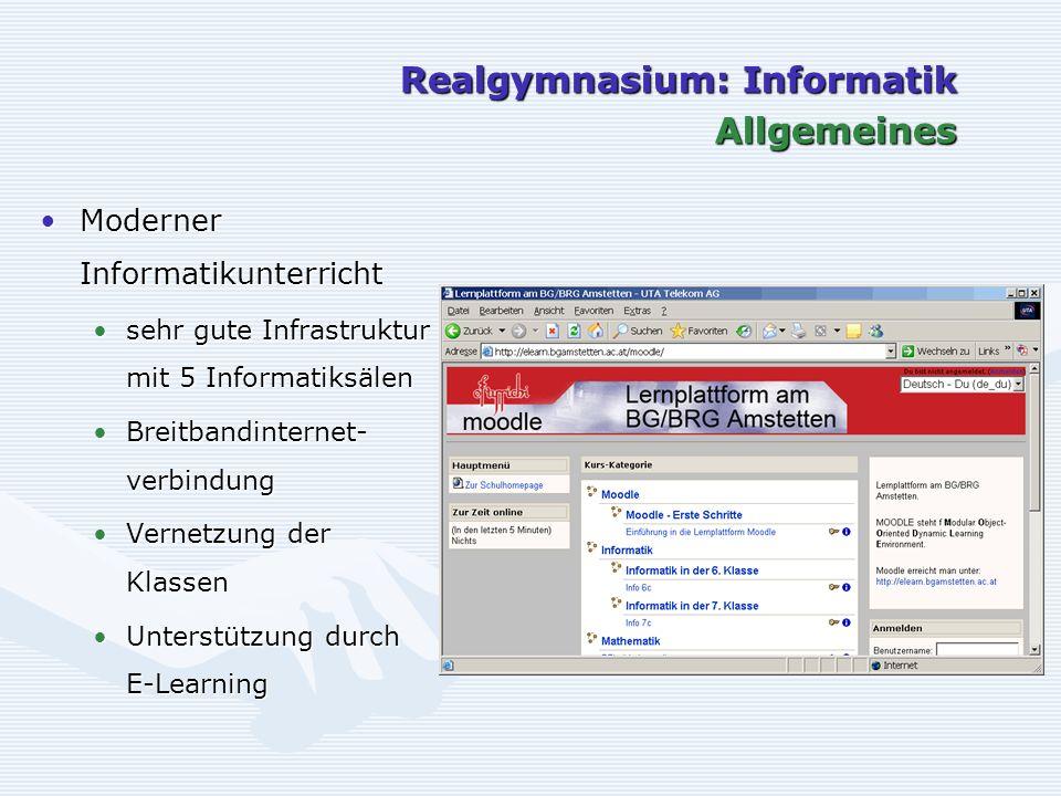 Realgymnasium: Informatik Allgemeines