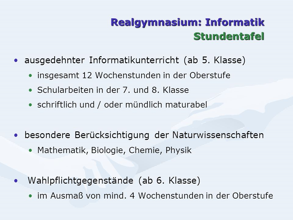 Realgymnasium: Informatik Stundentafel